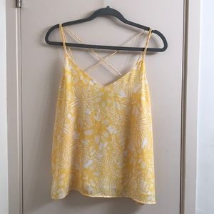 H&M Yellow Flower Strappy Top